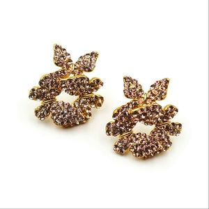 Fashion butterfly gold crystal earrings